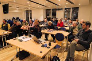 Das Bild zeigt einen Teil des Auditoriums des TELI-Jour-fixe im Internationalen PresseClub München. Bild: Peter Knoll.im Internationalen PresseClub