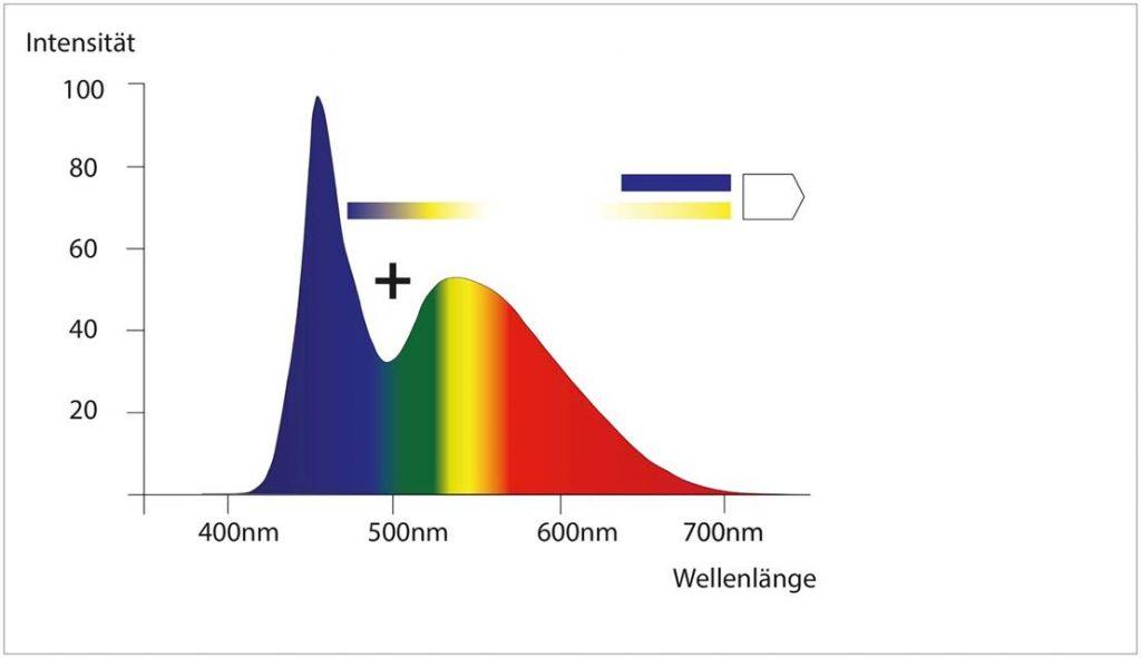 Spektrum sichtbaren Lichts mit Weisslicht-LED-typischem Blau-Peak.