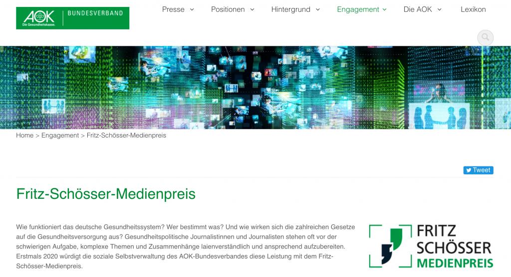 Webseite Schoesser Medienpreis 2020
